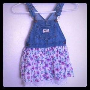 OshKosh B'GOSH Overall Dress Purple Pink Floral 4T